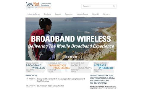 Screenshot of Home Page newnet.com - NewNet Communication Technologies - captured Oct. 8, 2014