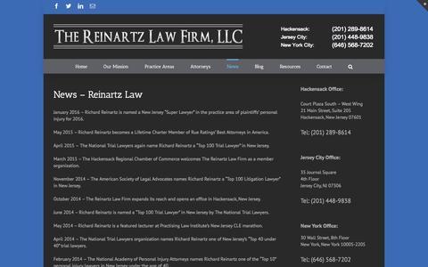 Screenshot of Press Page reinartzlaw.com - News - The Reinartz Law Firm - captured Feb. 16, 2016