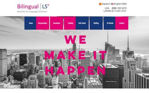 Screenshot of Home Page bilingual-ls.com - Translation & Interpretation in Latin America | Bilingual LS - captured Oct. 5, 2018