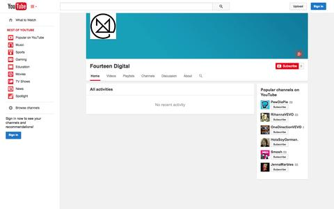 Screenshot of YouTube Page youtube.com - Fourteen Digital  - YouTube - captured Oct. 29, 2014