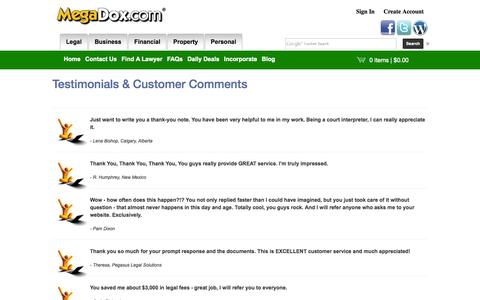 Screenshot of Testimonials Page megadox.com - Testimonials & Customer Comments - captured Oct. 27, 2014
