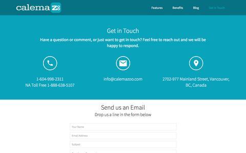 Screenshot of Contact Page calemazoo.com - Calemazoo - captured Feb. 11, 2016