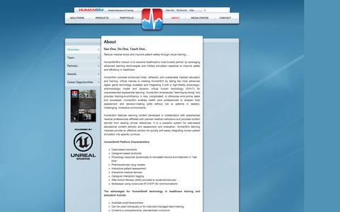 Screenshot of About Page humansim.com - Medical Simulation Training | Medical Education & Training | About - captured Oct. 3, 2014