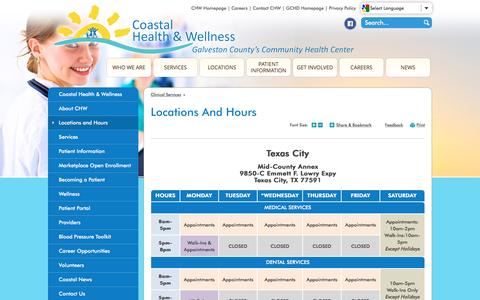 Screenshot of Locations Page gchd.org - Galveston County Health District : Locations and Hours - captured Jan. 30, 2017