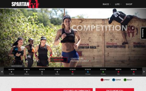 Screenshot of Home Page spartan.com - Spartan Race – Obstacle Course Races - captured July 17, 2014