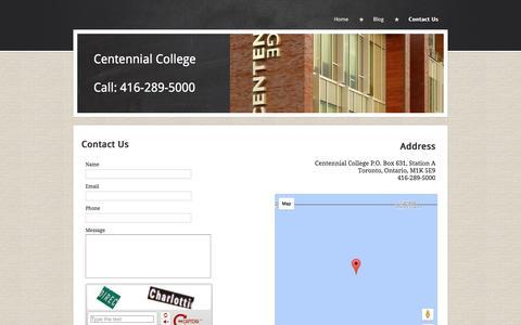 Screenshot of Contact Page centennialcollege.yolasite.com - Centennial College - captured June 25, 2016