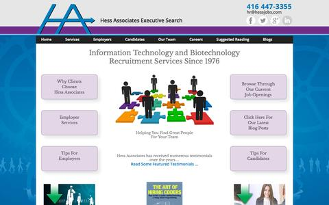 Screenshot of Home Page hessjobs.com - Recruiters Toronto | IT & Biotech Jobs | Hess Associates Search - captured Sept. 19, 2015