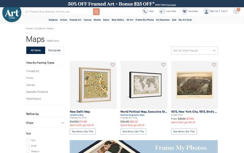 Screenshot of Maps & Directions Page art.com - Beautiful Maps artwork for sale, Posters and Prints | Art.com - captured Sept. 20, 2018