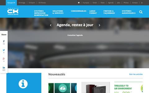 Screenshot of Home Page ck-online.lu - Groupe CK - - captured Jan. 22, 2016
