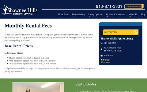 Screenshot of Pricing Page spectrumretirement.com - Monthly Rental Pricing | Shawnee Hills Senior Living - captured Oct. 23, 2018