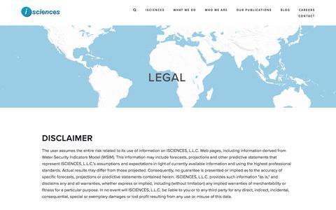 Screenshot of Terms Page isciences.com - Legal — ISCIENCES - captured Oct. 5, 2017