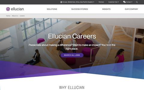 Screenshot of Jobs Page ellucian.com - Careers | Ellucian Europe, Middle East, Africa, India, and Asia Pacific - captured Feb. 5, 2019