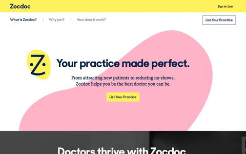 Screenshot of Signup Page zocdoc.com - See more patients with Zocdoc. - captured Feb. 17, 2016