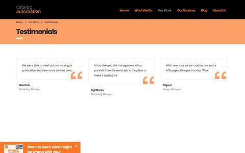 Screenshot of Testimonials Page catalogautomation.com - Testimonials – Catalog Automation - captured Sept. 27, 2018