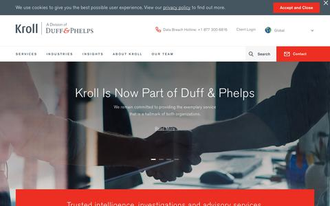 Screenshot of Home Page kroll.com - Kroll, a division of Duff & Phelps - captured Jan. 29, 2019