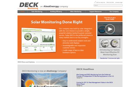 Screenshot of Home Page deckmonitoring.com - DECK - captured Oct. 5, 2014