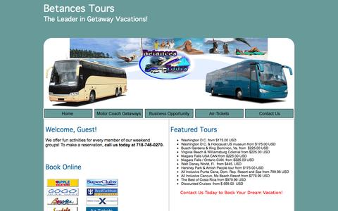 Screenshot of Home Page betancestours.com - Betances Tours - contact us today to book your dream vacation! - captured Oct. 4, 2014