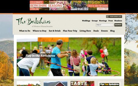 Screenshot of Home Page berkshires.org - The Berkshires Official Tourism & Travel Planning Website - captured Sept. 22, 2014