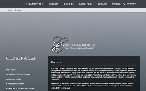 Screenshot of Services Page executivediamonds.ca - Jewellery Services | Executive Diamonds Calgary | - captured Sept. 30, 2014
