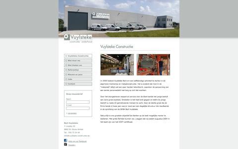 Screenshot of Home Page vuylsteke-constructie.be - Bart Vuylsteke | Constructie | Onderhoud | Lendelede | Technische onderhoudswerken | Metaalconstructie | Draaiwerk | Freeswerk | metaal | staal | inox | aluminium | machines | algemene mechanica | staalconstructie | VCA-certificaat - captured Oct. 5, 2014