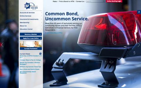 Screenshot of Home Page sfpcu.org - SF Police Credit Union | CA Credit Union for First Responders - captured Sept. 19, 2014