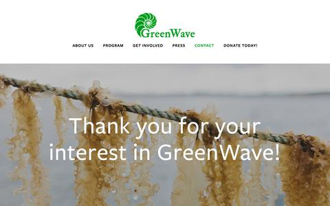 Screenshot of Contact Page greenwave.org - Thank you for your interest in GreenWave! — GreenWave - captured July 24, 2018