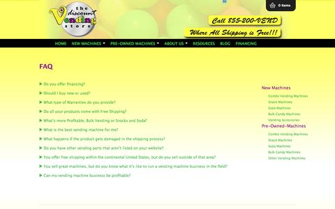Screenshot of FAQ Page thediscountvendingstore.com - FAQ - The Discount Vending Store - captured Sept. 30, 2014