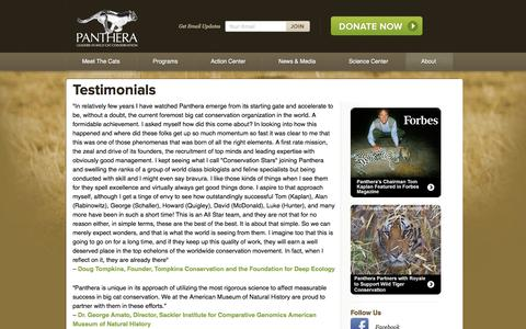 Screenshot of Testimonials Page panthera.org - Testimonials | Panthera - captured Sept. 19, 2014