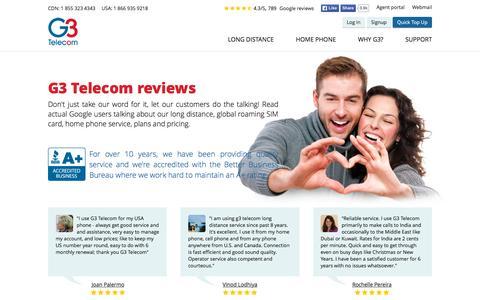 Screenshot of Testimonials Page g3telecom.com - G3 Telecom - Customer Testimonials - captured Nov. 1, 2015