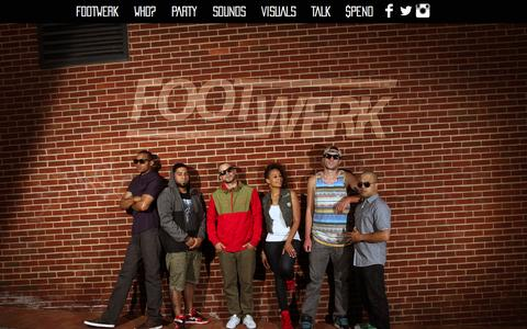 Screenshot of Home Page footwerkband.com - FOOTWERK - captured Sept. 22, 2015