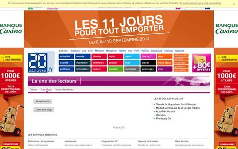 Screenshot of Blog 20minutes.fr - 20 Minutes Blogs - captured Sept. 19, 2014