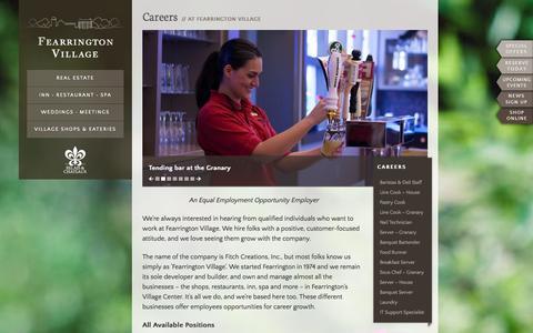 Screenshot of Jobs Page fearrington.com - Careers | Fearrington Village - captured Sept. 23, 2014