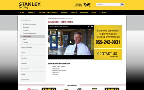 Screenshot of Testimonials Page stanleysecuritysolutions.com - Education Testimonials | Stanley Security Solutions - captured Sept. 23, 2014