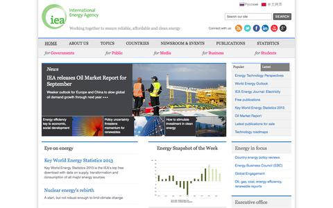 Screenshot of Home Page iea.org - IEA - International Energy Agency - affordable clean energy for all | iea.org - captured Sept. 23, 2014