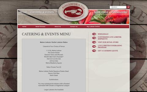 Screenshot of Menu Page mainelobsteroutlet.com - Menu «  Maine Lobster Outlet - captured Sept. 26, 2014