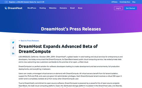 Screenshot of Press Page dreamhost.com - DreamHost Expands Advanced Beta of DreamCompute  – DreamHost - captured Feb. 21, 2020