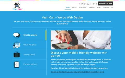 Screenshot of Home Page yeahcan.com - Yeah Can Responsive Web Design - captured Sept. 19, 2014