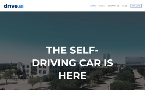 Screenshot of Home Page drive.ai - Home » drive.ai » the self-driving car is here - captured June 21, 2018
