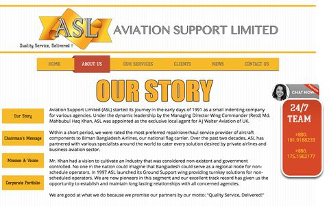 Screenshot of About Page aviationsupportbd.com - ASL Background | History | Success - captured Nov. 21, 2016