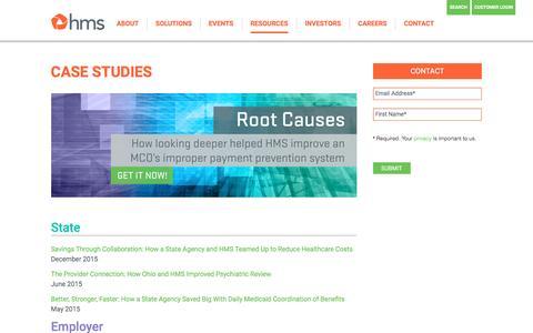 Screenshot of Case Studies Page hms.com - Case Studies Archives - HMS.com - captured July 3, 2016
