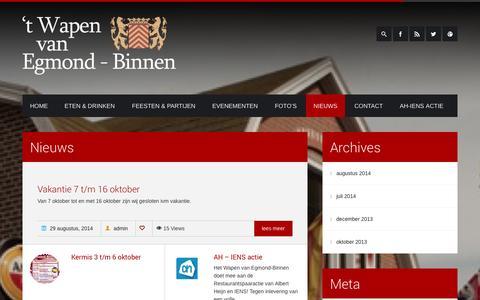 Screenshot of Blog hetwapenvanegmond-binnen.nl - Nieuws  Het Wapen van Egmond-Binnen - captured Sept. 30, 2014