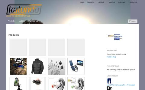 Screenshot of Products Page katunduadventures.co.za - Products | Katundu Adventures - captured Sept. 30, 2014
