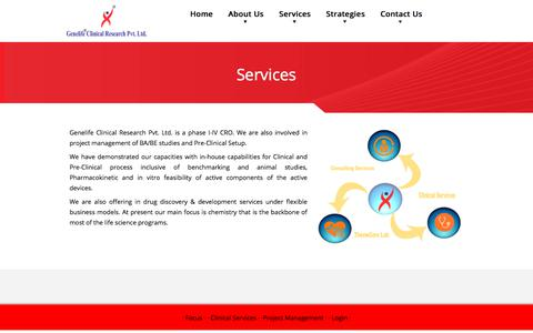 Screenshot of Services Page genelifecr.com - Services - Genelife Clinical Research Pvt. Ltd. - captured July 5, 2017
