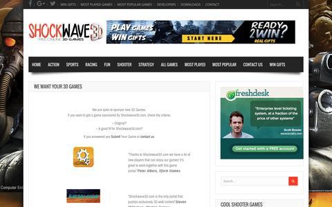 Screenshot of Developers Page shockwave3d.com - We want your 3D Games - - captured Jan. 21, 2016