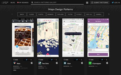 Screenshot of Maps & Directions Page mobile-patterns.com - Maps - UI UX Design Patterns :: Mobile Patterns - captured Nov. 3, 2018