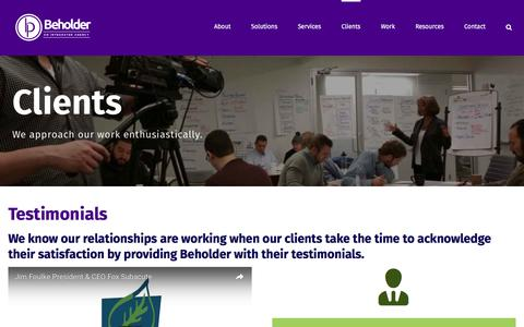 Screenshot of Testimonials Page beholderproductions.com - Testimonials & Reviews - Beholder Agency - captured July 28, 2016