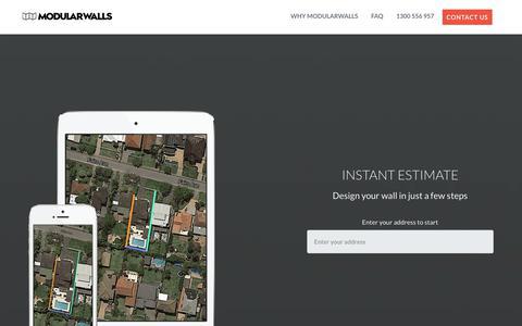Screenshot of Pricing Page modularwalls.com.au captured Oct. 20, 2017