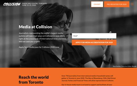 "Screenshot of Press Page collisionconf.com - COLLISION | Media at Collision | ""North America's fastest-growing tech conference"" 