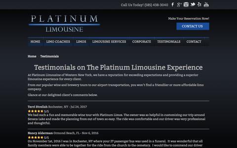 Screenshot of Testimonials Page platinumlimousinewny.com - Testimonials | Platinum Limousine - captured Aug. 8, 2017