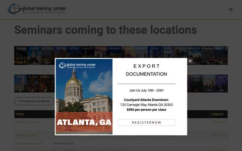 Screenshot of Locations Page globaltrainingcenter.com - Global Training Center - Cities with Scheduled Import Export Seminars - captured July 10, 2018